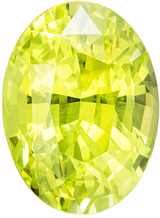 2.11 carats Yellow Chrysoberyl Loose Gemstone in Oval Cut, Neony Lime Yellow, 8.7 x 6.4 mm