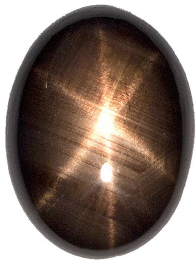 2.12 Carat Black Star Sapphire Gem, 6 Ray Star 8.1 x 6.1 mm in Oval Shape