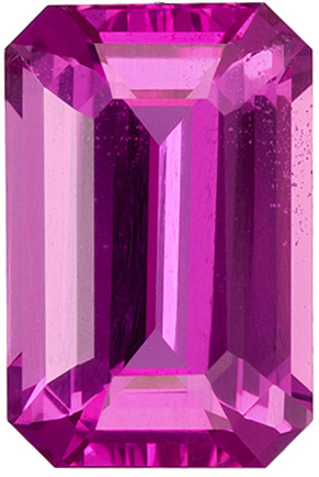 2.12 Carat Vivid Pink Sapphire Gemstone in Emerald Cut, Vivid Pure Pink Color in 8.8 x 5.8 mm
