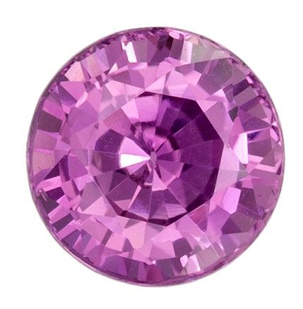 Very Special Gem GIA Certified 7.3 x 7.4 mm Sapphire Loose Genuine Gemstone in Round Cut, Pink Purple, 2.12 carats