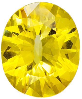 2.14 carats Yellow Sapphire Oval Gemstone in Vivid Pure Yellow, 9.3 x 7.7 mm in Oval Cut