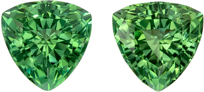 Glamourous 2.14 carats Green Tourmaline Trillion Gemstone Pair, 6.4 mm