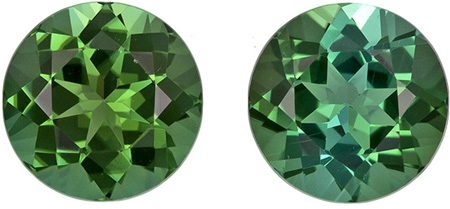 2.15 carats Green Tourmaline Well Matched Gem Pair in Round Cut, Vivid Grass Green, 6.5 mm