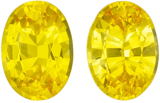 Genuine Yellow Sapphire Loose Gemstones, 2.15 carats, Oval Cut, 7.1 x 5.1  mm , Matching Pair