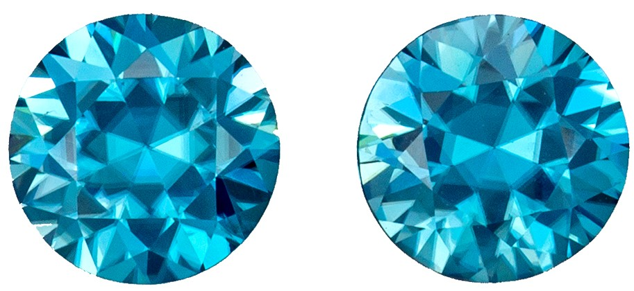 Natural Pair of Blue Zircons 2.17 carats, Round shape gemstones, 6.0  mm