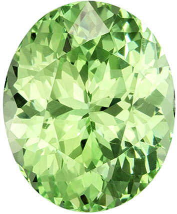 2.17 carats Green Garnet Loose Gemstone in Oval Cut, Neon Mint Green, 8.2 x 6.7 mm