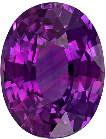 2.17 carats Purple Sapphire Loose Gemstone in Oval Cut, Rich Magenta, 8.6 x 6.6 mm