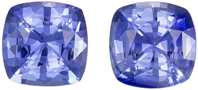 Super Sapphire Matched Pair, 2.18 carats, Sky Cornflower Blue, Cushion Cut, 6 mm
