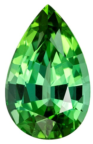 2.18 carats Blue Green Tourmaline Loose Gemstone in Pear Cut, Vivid Mint Green, 10.3 x 6.5 mm