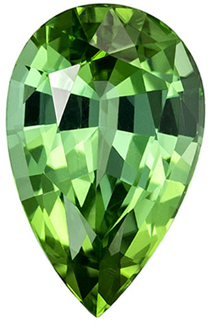 2.18 carats Green Tourmaline in Vivid Mint Green Color, 10.3 x 6.5 mm Pear Cut
