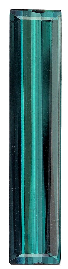 2.19 carats Blue Green Tourmaline Loose Gemstone in Emerald Cut, Rich Blue Green, 20.6 x 4.3 mm