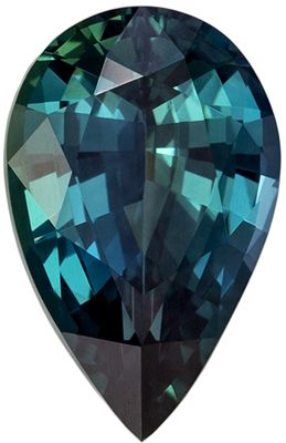 Hard to Find GIA Certified Untreated Sapphire Gemstone Pear Cut, Teal Blue Green, 10.46 x 6.68 x 4.19 mm, 2.2 carats