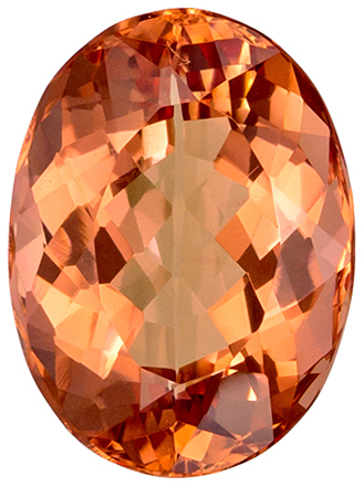 2.2 carats Imperial Topaz Loose Gemstone Oval Cut, Vivid Peachy Sherry, 8.9 x 6.6 mm