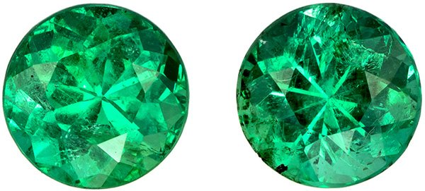 2.21 carats Ultimate Emerald Pair, Rich Vivid Green Incredible Color, Large Size of 6.7 mm