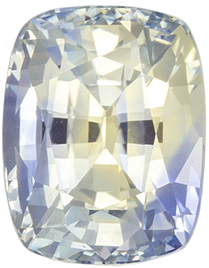 Unique & Desirable Unheated Cushion Shape Bicolor Sapphire Gemstone, 2.22 carats, Sky Blue & Straw Yellow Color, 7.72 x 6.02 x 5.08 mm, GIA Certified