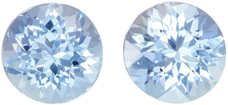 2.22 carats Aquamarine Matched Gemstone in Pair in Round Cut, Vivid Blue, 6.9 mm