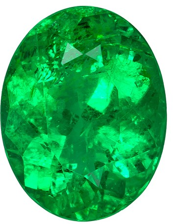 2.22 carats Emerald Loose Gemstone in Oval Cut, Bright Medium Green, 9.9 x 7.6 mm