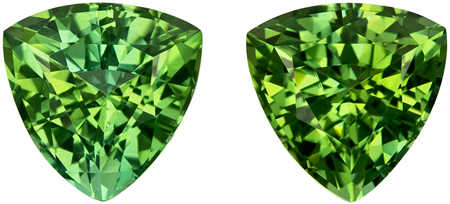 2.22 carats Green Tourmaline Matched Gemstone Pair in Trillion Cut, Medium Mint Green, 6.4 mm