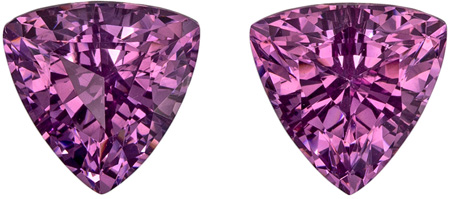 2.22 carats Purple Spinel Matched Gemstone Pair in Trillion Cut, Magenta Purple, 6.5 mm