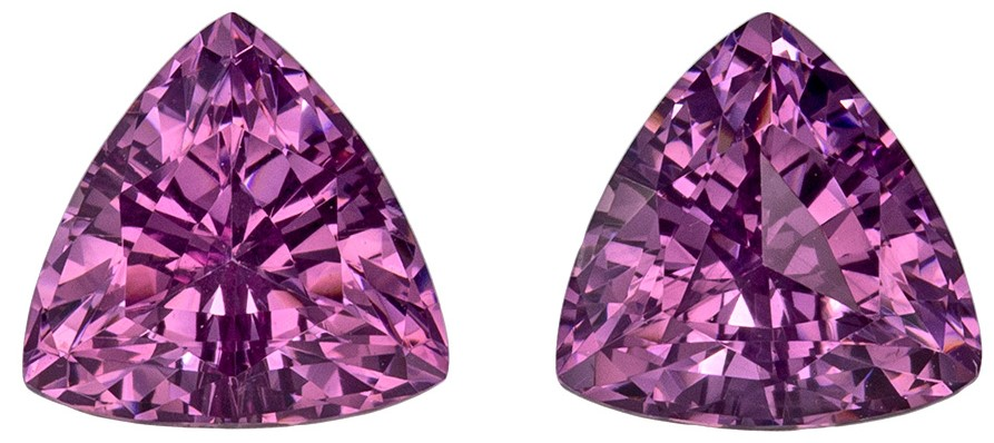 2.22 carats Purple Spinel Matched Gemstone in Pair in Trillion Cut, Magenta Purple, 6.5 mm