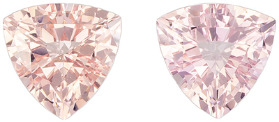 Fine Quality 2.22 carats Pink Morganite Trillion Gemstone Pair, 7.1 mm