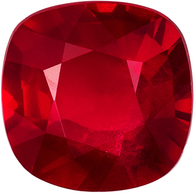 Rare Lovely Unheated GRS Certified Ruby Genuine Gem, 7.57 x 7.56 x 4.28 mm, Vivid Pigeons Blood Red, Cushion Cut, 2.22 carats
