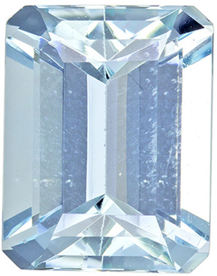 2.24 carats Aquamarine Loose Gemstone in Emerald Cut, Rich Blue, 9 x 7 mm