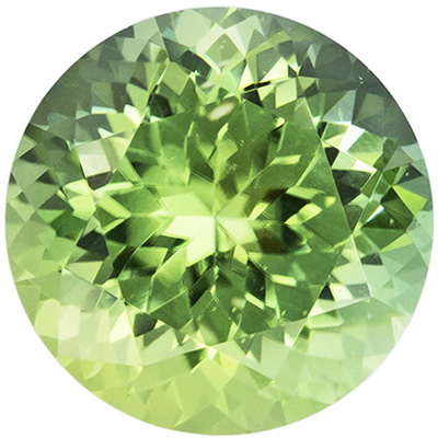 2.24 carats Green Tourmaline Loose Gemstone in Round Cut, Mint Green, 8.2 mm