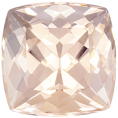 Highly Requested Morganite Gemstone 2.24 carats, Cushion Cut, Medium Peach Pink, 8 mm