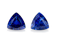 Authentic Blue Sapphire Gemstones, Trillion Cut, 2.25 carats, 7 mm Matching Pair, AfricaGems Certified - A Fine Gem