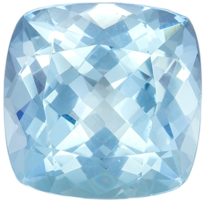 Excellent Aquamarine Natural Gem, 2.26 carats, Medium Sky Blue, Cushion Cut, 8.4 mm