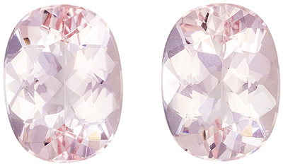 Bright & Lively Morganite Well Matched Gemstone Pair Oval Cut, Light Peach Pink, 8 x 6 mm, 2.28 carats