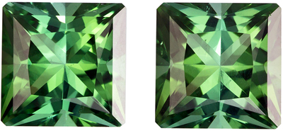 Perfect Matched Pair in 2.30 carat Blue Green Tourmalines in Radiant Cut,