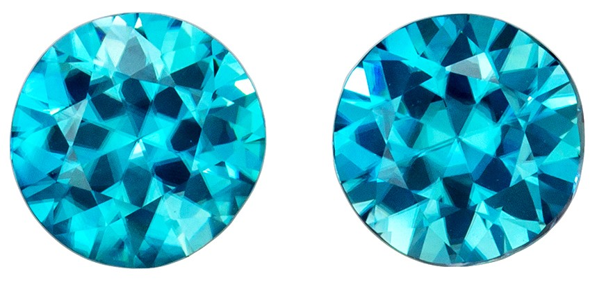 Pair of Genuine Blue Zircons 2.3 carats, Round shape gemstones, 6.0  mm