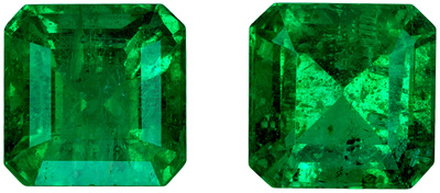 Gorgeous Perfect 2.30 carats Matched Pair of Very Fine Emeralds, 6.0mm