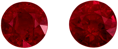 Lovely Rare Ruby Matched Pair, 6 mm, Rich Pigeons Blood Red, Round Cut, 2.3 carats