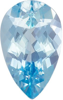 Must See 2.31 carats Rich Blue Aquamarine Pear Genuine Gemstone, 12 x 7.6 mm