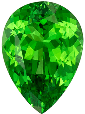 Stunning 2.31 carats Green Tsavorite Pear Genuine Gemstone, 10 x 7.3 mm