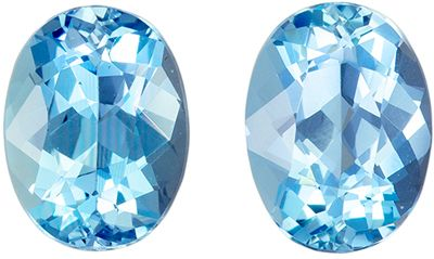 Fine Quality 2.32 carats Blue Aquamarine Oval Gemstone Pair, 7.9 x 6 mm