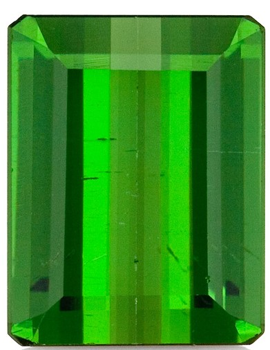 2.32 carats Green Tourmaline Loose Gemstone in Emerald Cut, Olivey Green, 9.1 x 7 mm
