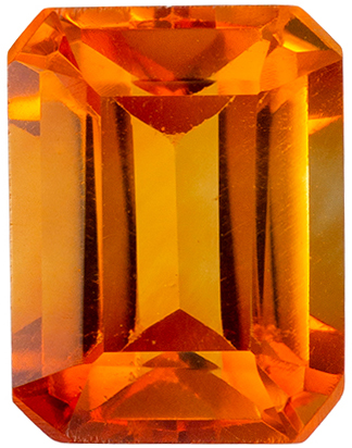 Fine Quality  2.33 carat Orange Citrine Gemstone in Emerald Cut 9 x 7 mm