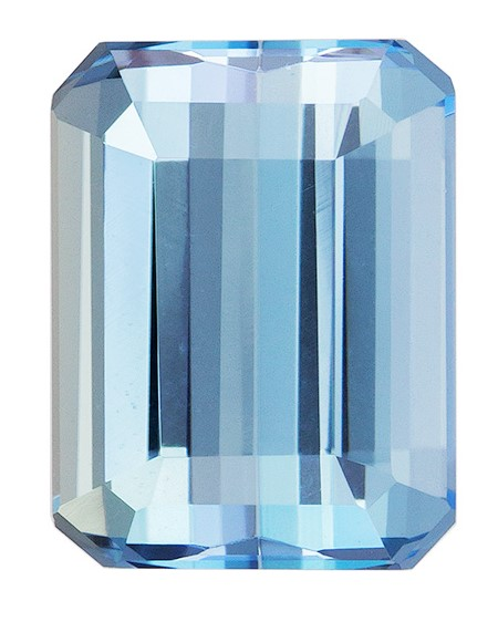 Loose Stunning 2.35 carats Aquamarine Loose Gemstone in Emerald Cut, Rich Blue, 9.2 x 7 mm