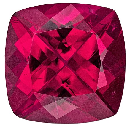 Must See Rubellite Tourmaline Genuine Gem, 2.35 carats, Cushion Cut, 8 mm , Great Low Price