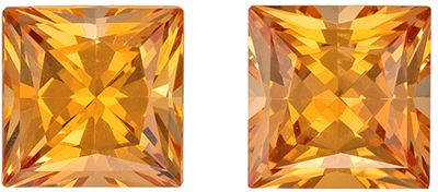 Super Fiery 2.36 carats Precious Topaz Princess Gemstone Pair, 5.7 mm, Beautiful Sherry Peach Color