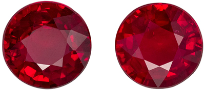 Rare Ruby Gem Pair, 2.37 carats, Rich Pigeons Blood Red, Round Cut, 6.2 mm