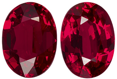 Gorgeous Ruby Oval Cut Well Matched Gemstone Pair, Vivid Rich Red, 7.2 x 5.2 mm, 2.38 carats