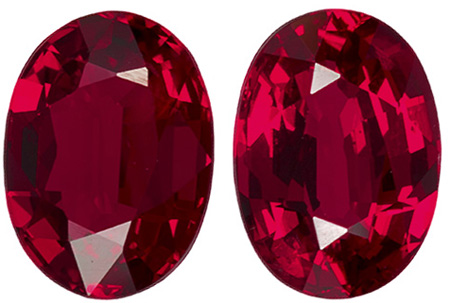 2.38 carats Ruby 2 Piece Matched Pair in Oval Cut, Vivid Red, 7.2 x 5.2 mm