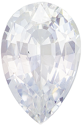 2.43 carats White Sapphire Loose Gemstone in Pear Cut, Very Colorless White, 10.4 x 6.8 mm