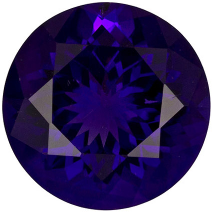 2.44 carats Amethyst Loose Gemstone Round Cut, Rich Purple, 9 mm