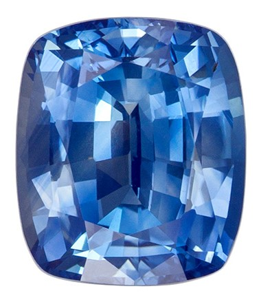 Fiery Stunning 2.44 carats Sapphire Loose Genuine Gemstone in Cushion Cut, Open Teal Blue, 8.2 x 7 mm